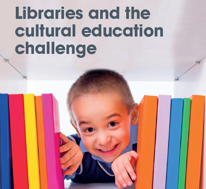 "Small school child poking his through a bunch of vibrant coloured library books on a shelf. Text reads: ""Libraries and the cultural education challenge."""