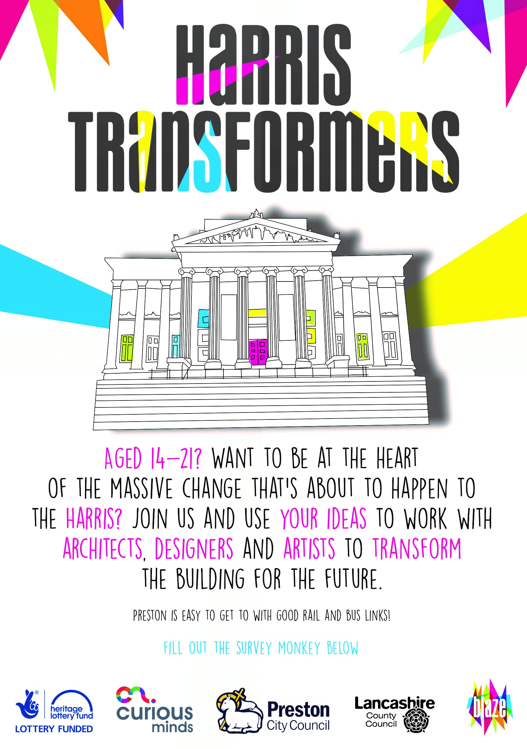 Harris Transformers poster which is looking for 14-21 year old creatives to take part and filling out a survey below.