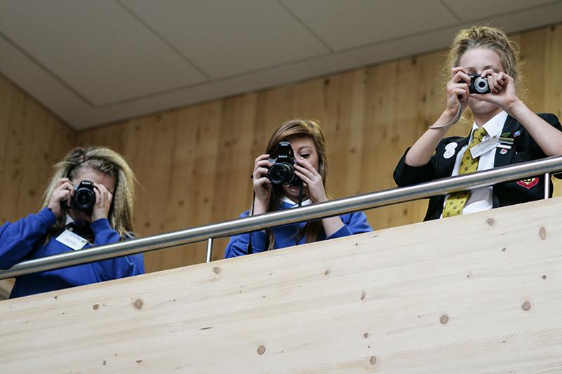 Secondary Schoolgirls with cameras