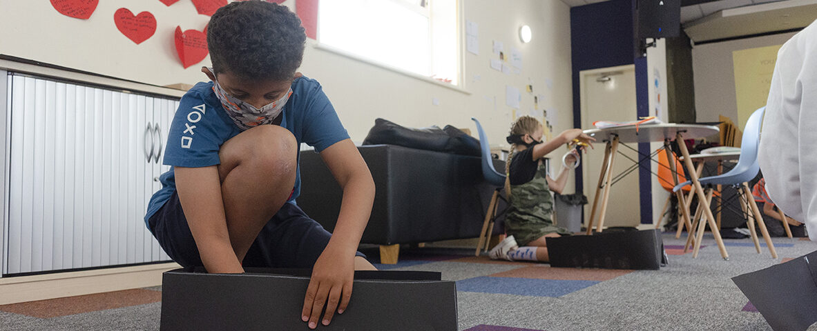 Young Bubble Up participants in Claremont make a camera obscura during summer 2020